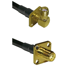 SMA 4 Hole Right Angle Female on Belden 83242 RG142 to SMA 4 Hole Female Cable Assembly