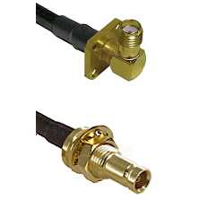 SMA 4 Hole Right Angle Female on LMR100 to 10/23 Female Bulkhead Cable Assembly