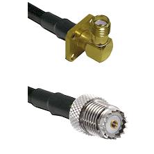 SMA 4 Hole Right Angle Female on LMR100 to Mini-UHF Female Cable Assembly