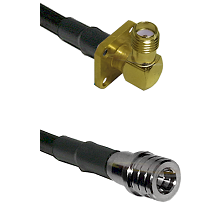 SMA 4 Hole Right Angle Female on LMR100 to QMA Male Cable Assembly