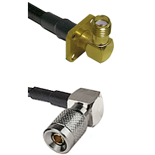 SMA 4 Hole Right Angle Female on LMR100 to 10/23 Right Angle Male Cable Assembly