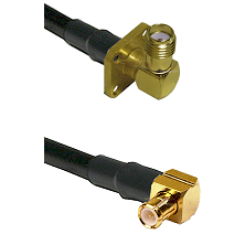 SMA 4 Hole Right Angle Female on LMR100 to MCX Right Angle Male Cable Assembly
