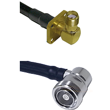 SMA 4 Hole Right Angle Female on LMR-195-UF UltraFlex to 7/16 Din Right Angle Female Coaxial Cable A