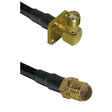 SMA 4 Hole Right Angle Female on LMR-195-UF UltraFlex to SMA Reverse Polarity Female Coaxial Cable A