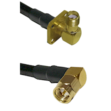 SMA 4 Hole Right Angle Female on LMR-195-UF UltraFlex to SMA Right Angle Male Cable Assembly