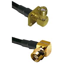SMA 4 Hole Right Angle Female on LMR-195-UF UltraFlex to SMC Right Angle Female Coaxial Cable Assemb