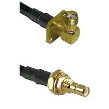 SMA 4 Hole Right Angle Female on LMR-195-UF UltraFlex to SMB Male Bulkhead Cable Assembly