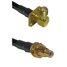 SMA 4 Hole Right Angle Female on LMR-195-UF UltraFlex to SMC Male Bulkhead Cable Assembly