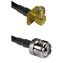 SMA 4 Hole Right Angle Female on LMR-195-UF UltraFlex to UHF Female Cable Assembly