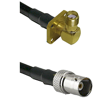 SMA 4 Hole Right Angle Female on LMR200 UltraFlex to BNC Female Cable Assembly