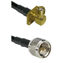 SMA 4 Hole Right Angle Female on LMR200 UltraFlex to Mini-UHF Male Cable Assembly