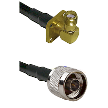 SMA 4 Hole Right Angle Female Connector On LMR-240 To N Reverse Thread Male Connector Coaxial Cable