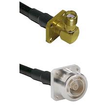 SMA 4 Hole Right Angle Female Connector On LMR-240UF UltraFlex To 7/16 4 Hole Female Connector Coaxi