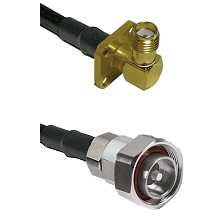 SMA 4 Hole Right Angle Female on LMR240 Ultra Flex to 7/16 Din Male Cable Assembly