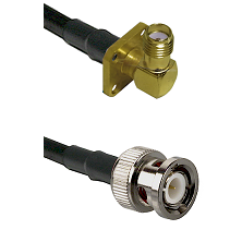 SMA 4 Hole Right Angle Female Connector On LMR-240UF UltraFlex To BNC Male Connector Coaxial Cable A