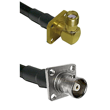 SMA 4 Hole Right Angle Female Connector On LMR-240UF UltraFlex To C 4 Hole Female Connector Coaxial