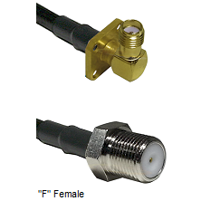 SMA 4 Hole Right Angle Female Connector On LMR-240UF UltraFlex To F Female Connector Coaxial Cable A