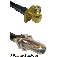 SMA 4 Hole Right Angle Female Connector On LMR-240UF UltraFlex To F Female Bulkhead Connector Coaxia