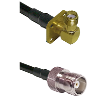 SMA 4 Hole Right Angle Female Connector On LMR-240UF UltraFlex To HN Female Connector Coaxial Cable