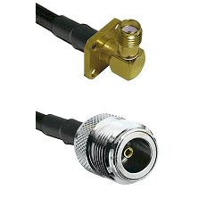 SMA 4 Hole Right Angle Female on LMR240 Ultra Flex to N Female Cable Assembly