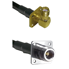 SMA 4 Hole Right Angle Female Connector On LMR-240UF UltraFlex To N 4 Hole Female Connector Coaxial