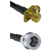 SMA 4 Hole Right Angle Female Connector On LMR-240UF UltraFlex To QN Male Connector Coaxial Cable As