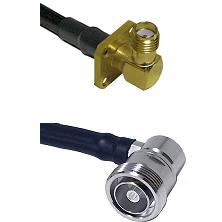 SMA 4 Hole Right Angle Female Connector On LMR-240UF UltraFlex To 7/16 Din Right Angle Female Connec