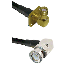 SMA 4 Hole Right Angle Female on LMR240 Ultra Flex to BNC Right Angle Male Cable Assembly