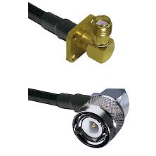 SMA 4 Hole Right Angle Female Connector On LMR-240UF UltraFlex To C Right Angle Male Connector Coaxi