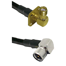 SMA 4 Hole Right Angle Female on LMR240 Ultra Flex to Mini-UHF Right Angle Male Coaxial Cable Assemb