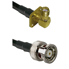 SMA 4 Hole Right Angle Female on LMR240 Ultra Flex to BNC Reverse Polarity Male Coaxial Cable Assemb
