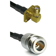 SMA 4 Hole Right Angle Female on LMR240 Ultra Flex to N Reverse Polarity Female Coaxial Cable Assemb
