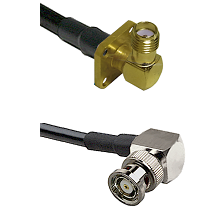 SMA 4 Hole Right Angle Female on LMR240 Ultra Flex to BNC Reverse Polarity Right Angle Male Coaxial