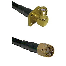 SMA 4 Hole Right Angle Female on LMR240 Ultra Flex to SMA Reverse Polarity Male Coaxial Cable Assemb