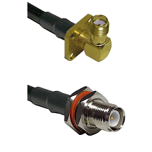 SMA 4 Hole Right Angle Female Connector On LMR-240UF UltraFlex To TNC Reverse Polarity Female Bulkhe