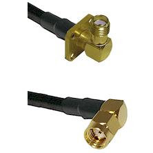 SMA 4 Hole Right Angle Female Connector On LMR-240UF UltraFlex To SMA Reverse Polarity Right Angle M
