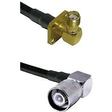 SMA 4 Hole Right Angle Female Connector On LMR-240UF UltraFlex To SC Right Angle Male Connector Coax