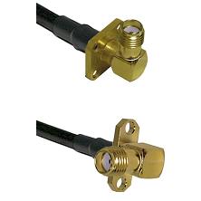SMA 4 Hole Right Angle Female on LMR240 Ultra Flex to SMA 2 Hole Right Angle Female Coaxial Cable As