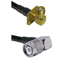 SMA 4 Hole Right Angle Female on LMR240 Ultra Flex to TNC Right Angle Male Cable Assembly