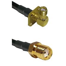 SMA 4 Hole Right Angle Female Connector On LMR-240UF UltraFlex To SMA Reverse Thread Female Connecto