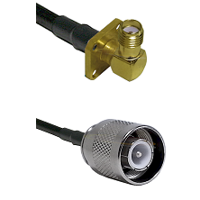SMA 4 Hole Right Angle Female Connector On LMR-240UF UltraFlex To SC Male Connector Coaxial Cable As