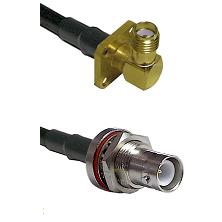 SMA 4 Hole Right Angle Female Connector On LMR-240UF UltraFlex To SHV Bulkhead Jack Connector Coaxia