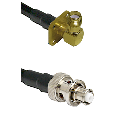 SMA 4 Hole Right Angle Female Connector On LMR-240UF UltraFlex To SHV Plug Connector Coaxial Cable A