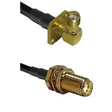 SMA 4 Hole Right Angle Female on LMR240 Ultra Flex to SMA Female Bulkhead Cable Assembly