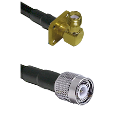 SMA 4 Hole Right Angle Female on LMR240 Ultra Flex to TNC Male Cable Assembly