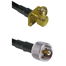 SMA 4 Hole Right Angle Female on LMR240 Ultra Flex to UHF Male Cable Assembly