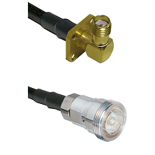 SMA 4 Hole Right Angle Female on RG142 to 7/16 Din Female Cable Assembly