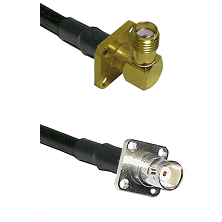 SMA 4 Hole Right Angle Female on RG142 to BNC 4 Hole Female Cable Assembly