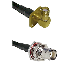 SMA 4 Hole Right Angle Female on RG142 to BNC Female Bulkhead Cable Assembly