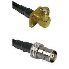 SMA 4 Hole Right Angle Female on RG142 to C Female Cable Assembly